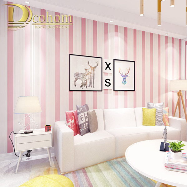 Pink Blue Beige Cream White Stripes Wallpaper For Kids Room Baby Girls Boy  Bedroom Decor Wallpapers Tv Backdrop Wall Papers Roll Hd Wallpaper A Hd ...