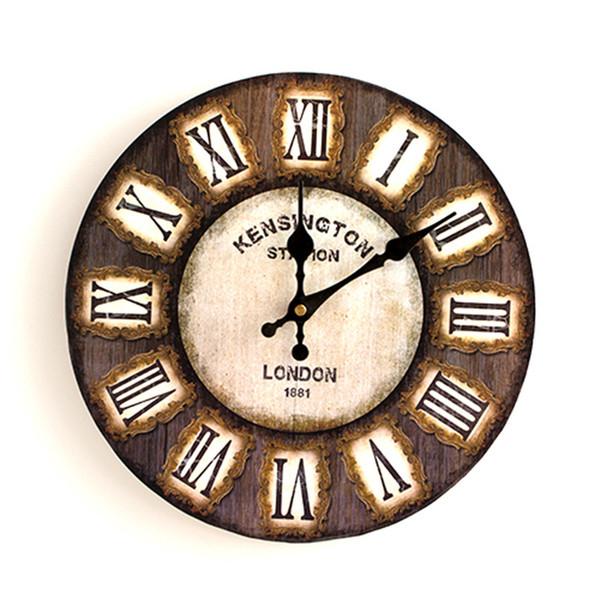 Vintage Silent Wall Clock European Retro Handmade Decorative Wall Clocks  Bedroom Kitchen Living Room Gifts Wooden Quartz Wall Clock Modern Kitchen  ...