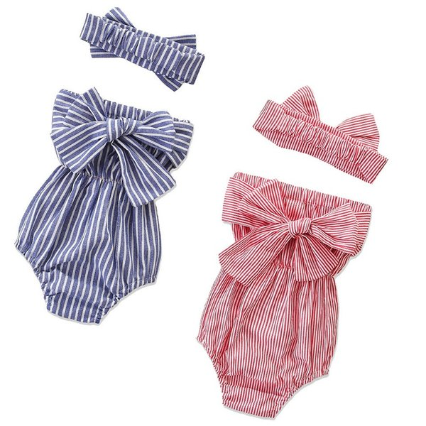 Vieeoease Toddler Girls Romper Stripe Baby Clothing 2019 Summer Sleeveless Cute Bow Princess Rompers with Headband CC-439