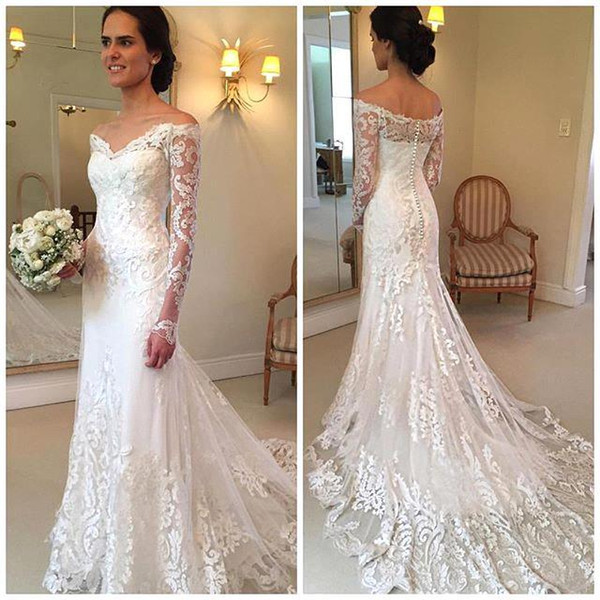 2019 New Gorgeous Long Sleeve Lace Mermaid Wedding Dresses Dubai African Style Petite Natural Slin Fishtail Off-shoulder Train Bridal Gowns