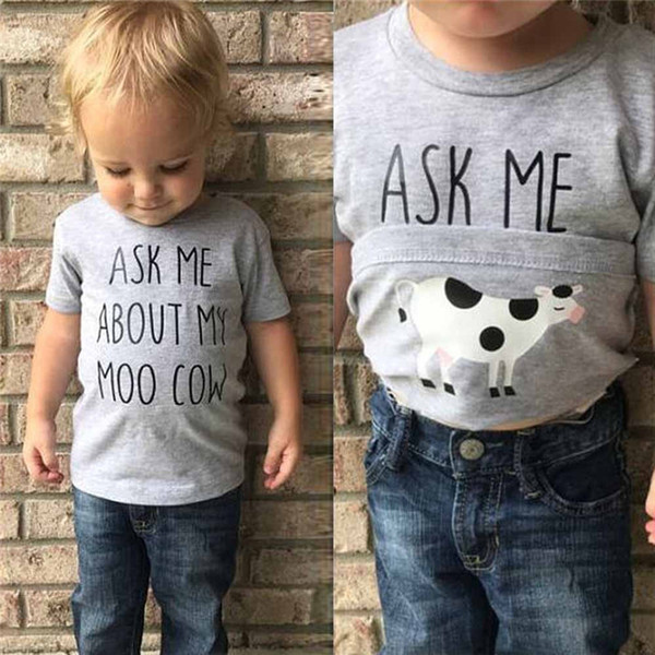 Children Clothing Kids Clothes Toddler Kids Boys Girls Clothes Short Sleeve Letter Printing T-Shirt Kids Teens Clothes M8Y18