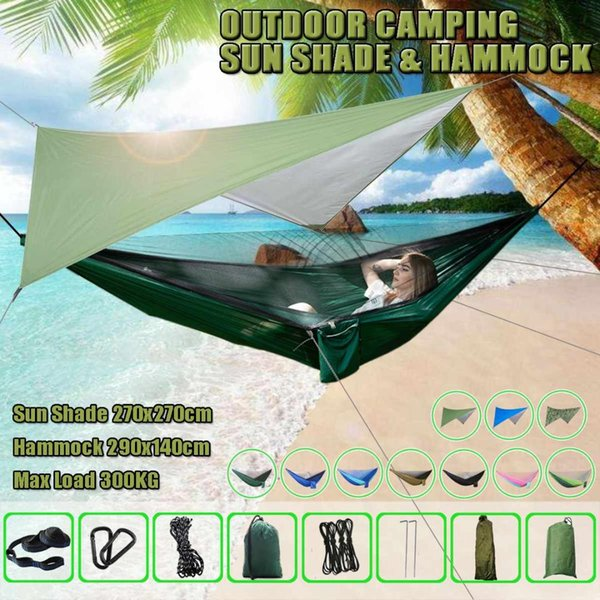 Outdoor Camping Portable Hammock Waterproof Tent Set Awning Multi-function Mat folding Hammock with Mosquito Net and Sun Shelter