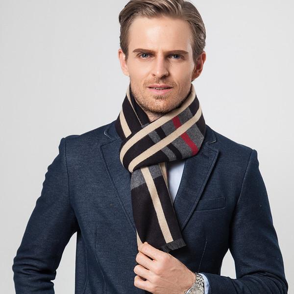 Invierno 2018 de los nuevos hombres británicos bufanda bufandas a cuadros hombres bufanda de cachemira de imitación de alto grado cálido cuello de negocios