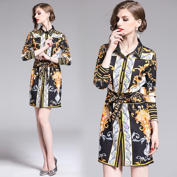 Vintage luxe baroque imprimé chemises printemps automne femmes piste piste chemisiers bureau dame mince manches longues taille ceintures chemises longues tops