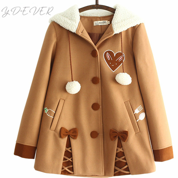 Japon Yumuşak Kardeş Sevimli Turp Işlemeli Kadın Yün Kapüşonlu Ceket 2017 Kış Rahat Yay Tatlı Sevimli Gevşek Kahverengi Ceketler