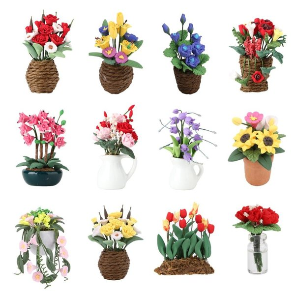 1:12 Doll House Miniature Fairy Garden Ornament Mini Potted Plant Flowers Pot DollHouse Decor Bonsai Model Kids Play Toys