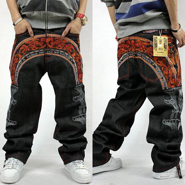 Nuevo diseño original de 2016 estilo europeo europeo Negro holgado Fit Hip Hop Baggy Jeans Mens Wide Leg Denim Pants Plus Size 30-44
