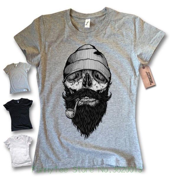 Kadın Tee Bayanlar T-shirt - Denizci Sakal - Korsan Kaptan Kafatası Sakal Tişört Boyut S M L Xl T Gömlek Kadın Yaz