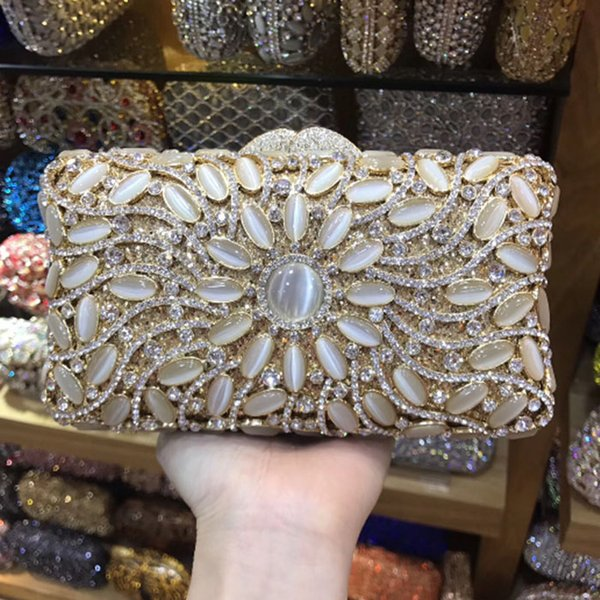 Hollow Out Clear Crystal Clutch Gold Glitter Evening Bags Women Party Dinner Handbags Hard Case Metal Wedding Bridal Bags Purses