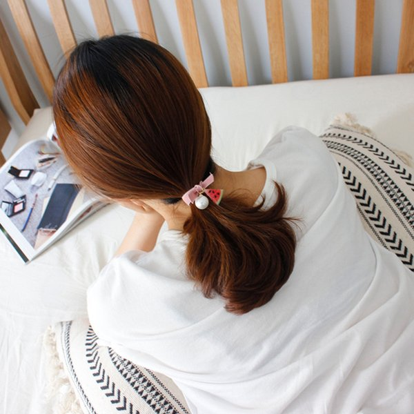 Korean fruit pearl ring bow hair rope headdress Japanese and Korean version of the sweet tie rubber band head rope hair accessorie