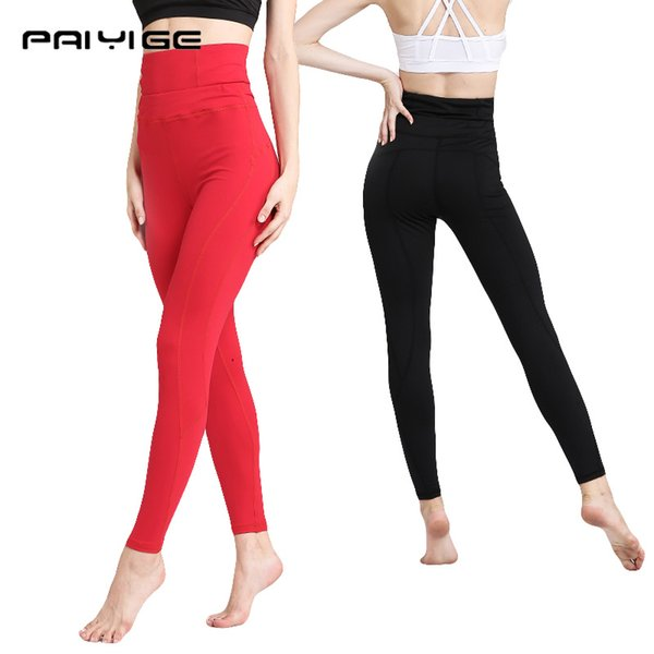 PAIYIGE Femme sport leggings High waist Solid Color pantalons thick Yoga Gym tight calcas black white red elastic Push Up pants