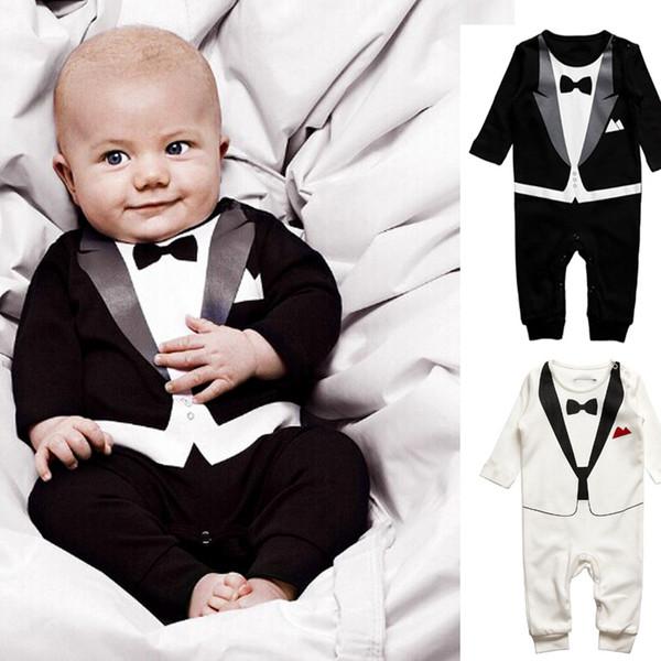 2019 New Cute Retail Baby Boys Black White Cotton Suit Set Kids Long Sleeve Gentlemen Style Bodysuit Kids Romper Jumpsuit Sets 4Sizes