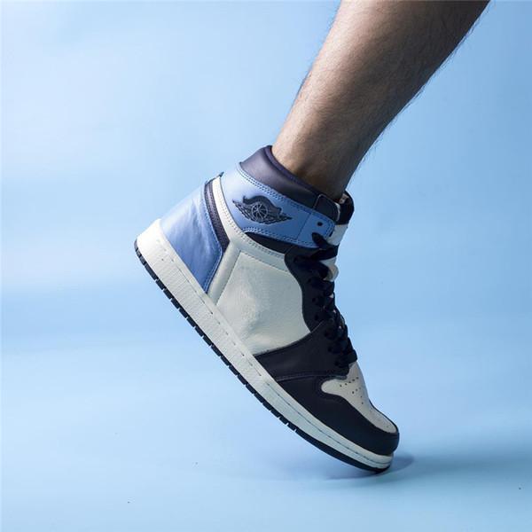 Высочайшее Качество 2019 1 Og High Unc Кожа Обсидиан Мужчины Баскетбольная Обувь Университет Синий Ретро Парус 555088-140 Аутентичные Обувь С Коробкой