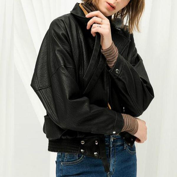 Yeni Moda Kadın Turn-Aşağı Yaka Sahte Deri Ceket Moto Biker Casual Gevşek Batwing Sleeve Pu Deri Ceket