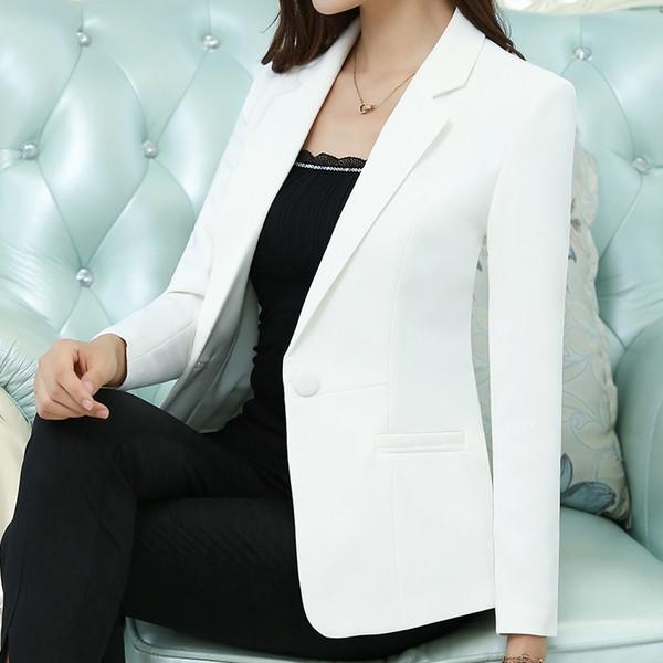 Plus size fashion one button elegant blazer women suit slim office 2018 autumn new arrivals 7colors #408761