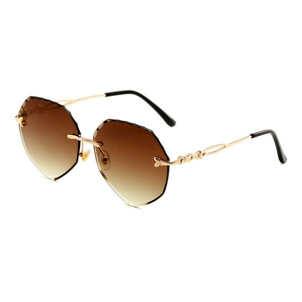 Women's Sunglasses Brand Designer Frameless Sunglasses UV400 Outdoor Clear Visual Glasses Trimming Fashion Sunglasses HD Lens Free Shipping