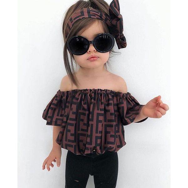 F 편지 운동복 여자 여름 복장 오프 어깨 풀오버 탑 셔츠 바지 레깅스 헤어 밴드 3 개 세트 아기 아이 디자이너 옷 B82603