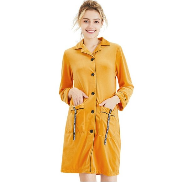 Womens Nightgowns 2019 Velour Female Autumn and Winter Long Sleeve Solid Home Clothing Sleep Robes Suits Sleepshirts