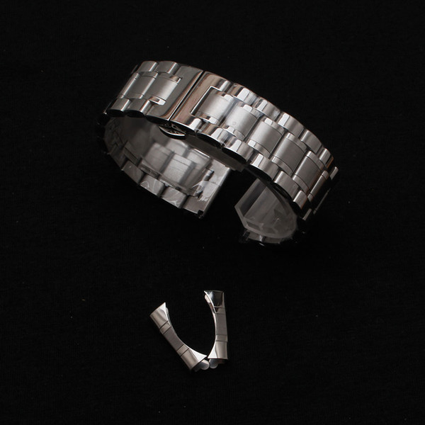 Watchband 14mm 15mm 16mm 17mm 18mm 19mm 20mm 21mm 22mm 23mm 24mm Silver Stainless steel curved ends special wristwatch accessories for brand