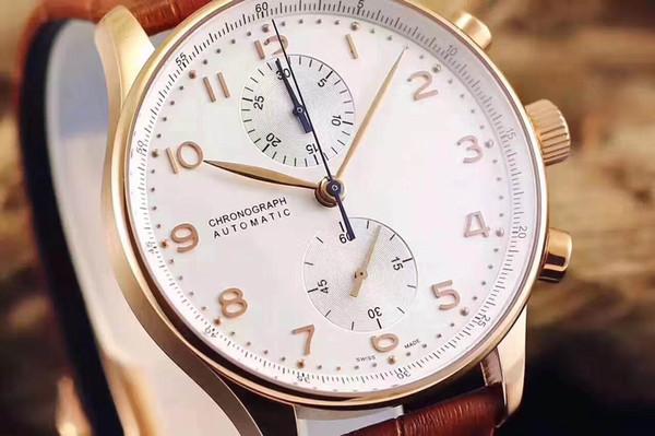 2019 nuevo Acero inoxidable de oro rosa Negro, cuero marrón, hombres Reloj de diseño Relojes Royal Oaks Relojes para hombre Cronógrafo de cuarzo japonés Relojes