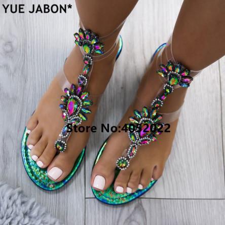 YUE JABON Femmes D'été Plat Strass Sandales Casual Gladiateurs De Mode Cristal Glissement Sur Les Femmes Chaussures Or Blanc, Plus La Taille 35-43