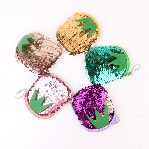New Pineapple Sequins Mini Coin Purses With Lanyard Cute Zipper Coin Keys Storage Bags 5 Colors