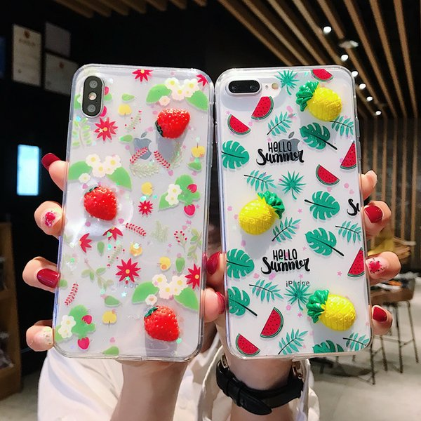 Cute Summer Fruit Letters Cases For iPhone XS Max XR XS X 6 6S 7 8 Plus Soft TPU Transparent Phone Back Cover Gifts