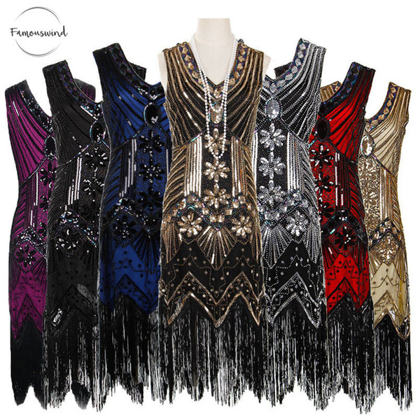 Women Dresses 1920 S Vintage Great Mid Calf Gatsby Sequins Tassels V Neck Bodycon Beaded Party Dress Flapper Art Double