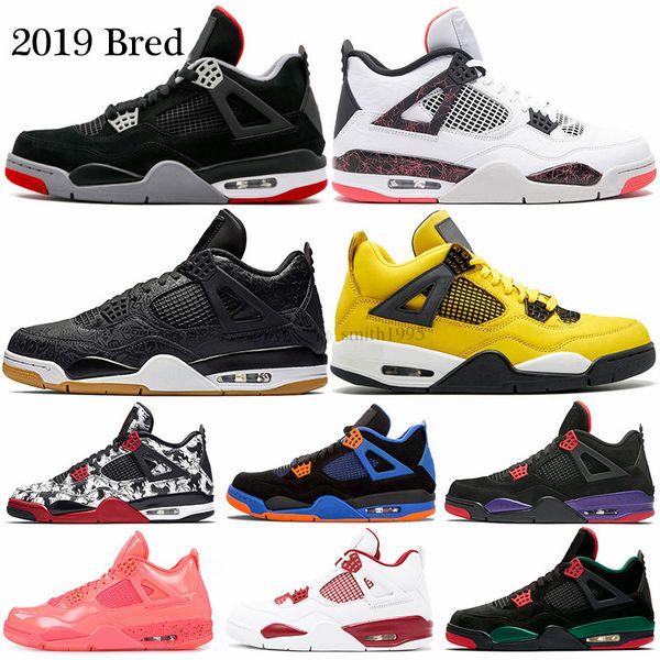 2019 Bred 4 Баскетбольные кроссовки 4s Бледно-цитронная пиццерия Lightning Day Tattoo LASER Горячи