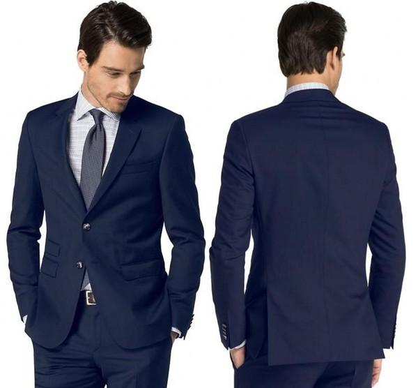 Dark Blue Mens Wedding Tuxedos Notch Lapel Groom Groomsmen Tuxedos Brand New Man Blazers Jacket Prom/Dinner 2 Piece Suit(Jacket+Pants+Tie)26