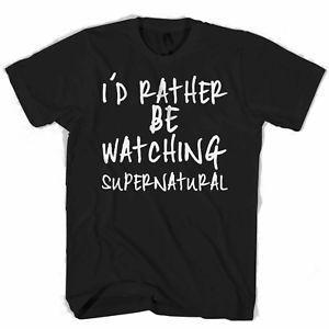 Id Rather Be Watching Сверхъестественное Мужчины 039 s Женщины 039 s Футболка