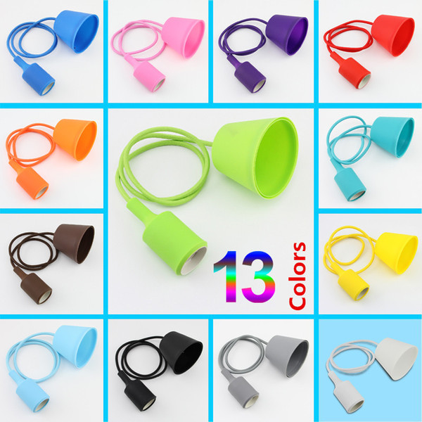 E27 Personality Colorful LED Lamp Cover Silicone Lamp Holder Lamp Base For Ceiling Pendant Light Shade DIY Decoration Lighting