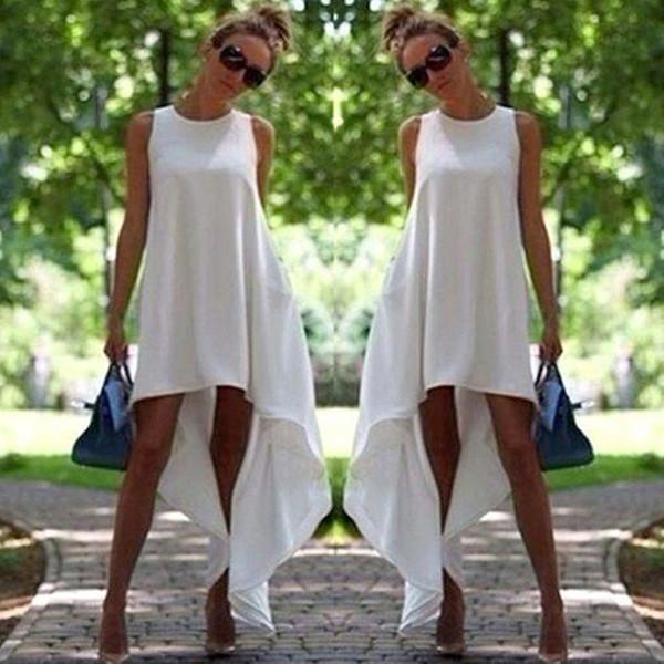Şık Yaz Kadın elbise Boho yuvarlak boyun kolsuz katı Akşam Parti Bayanlar Casual Polyester Plaj Elbiseleri bir adet