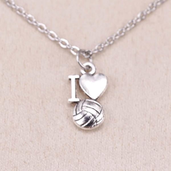 New Fashion Tibetan Silver Pendant i love volleyball 16*9mm Choker Charm Short Long DIY Necklace Factory Price Handmade Jewelry