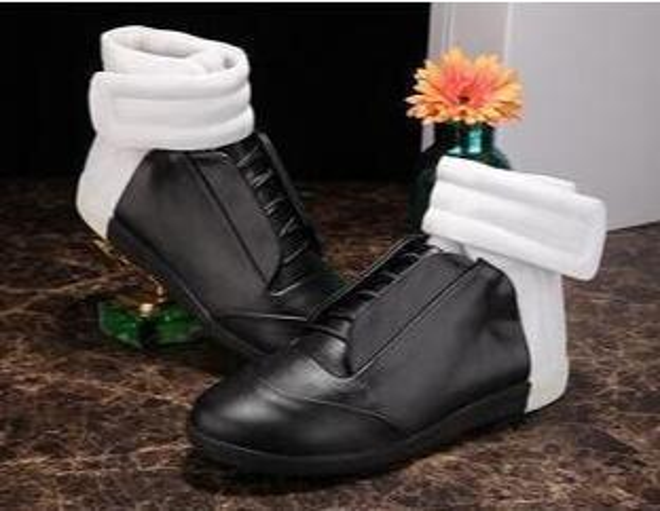 Men New Designer Hook&Loop Black White Red Sneaker Boots Flat Shoes Luxury designer shoes booties martin argiela sneakers Casual Shoe