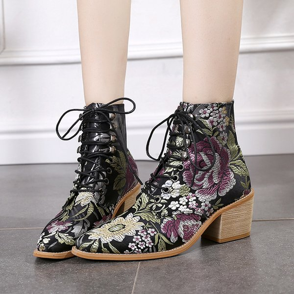 luxury designer women flower embroider floral silk western boots laceup low heel block pointed toe ankle boots ladies shoes p404
