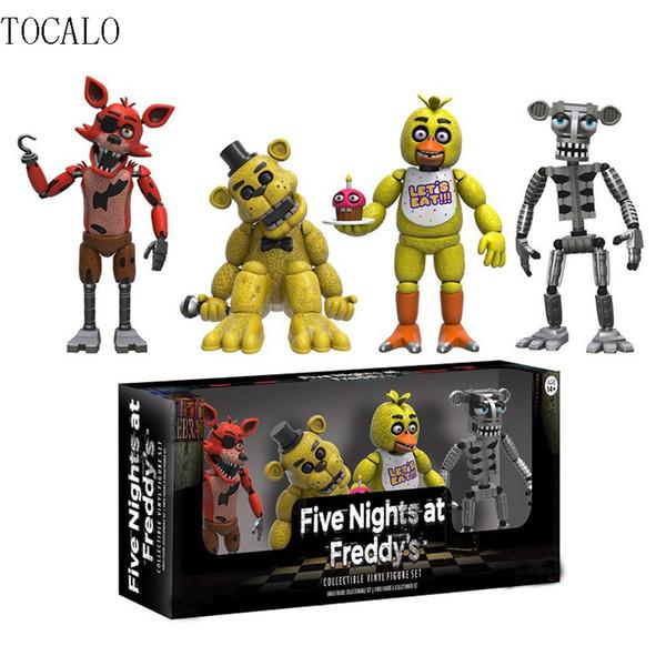 "5cm 2 Types Fnaf Five Nights At Freddy 'S 4 Figure 1 Set 2 ""Chica Freddy Foxy Figure Five Nights At Freddys Models"