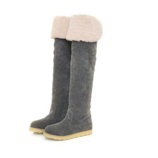 Women Long Boots Fashion Winter Qualcomm Suede Over The Knee Snow Boots Ladies Flat Bottom Suede Long Boot Shoes 1
