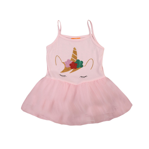 Cute Girls Unicorn Princess Dress Summer Kids Baby Party Wedding Prom Tulle Tutu Dresses
