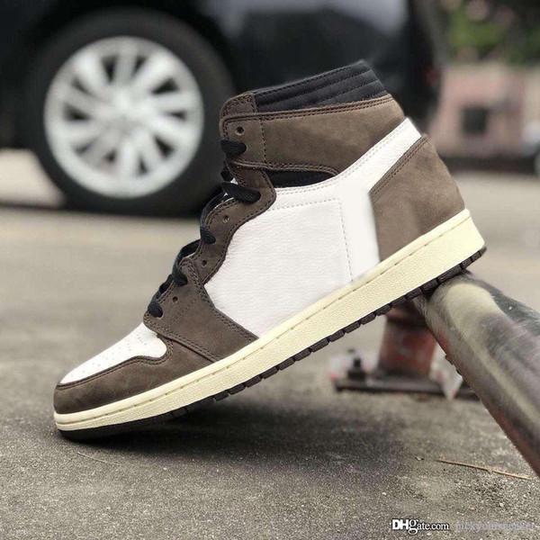 Travis Scott Erkek Basketbol Ayakkabı Sneakers 1 1 s Süet Kahverengi Erkekler Boy Athentic Spor Tasarımcısı Eğitmenler Koşu Ayakkabıları Ile kutu