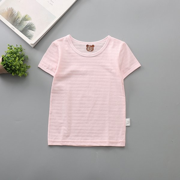bamboo short sleeve pink solid color
