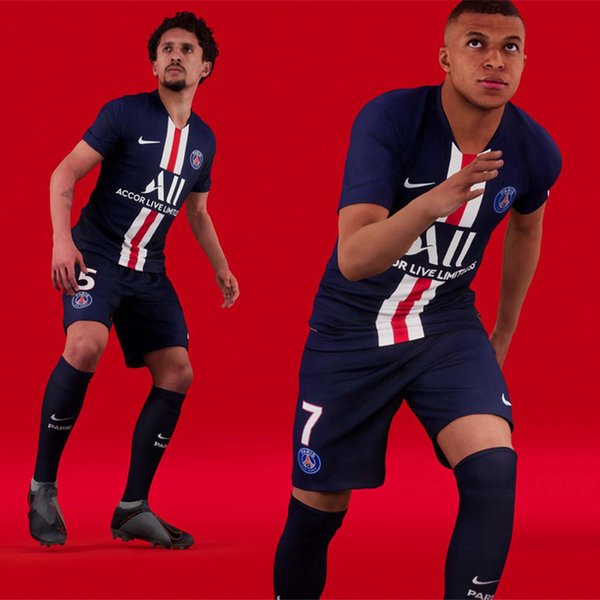 top popular 19 20 PSG Newest season Paris Mbappe short sleeves kit 2019 2020 home away tracksuits soccer jersey CAVANI training suits VERRATTI Tshirt 2019