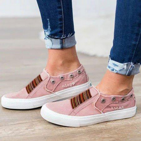 Oeak Classic Summer Flat Canvas Shoes For Women Casual Vulcanize Shoes Sneakers Girls Low-cut Lace-up Trainer Femme Ladies