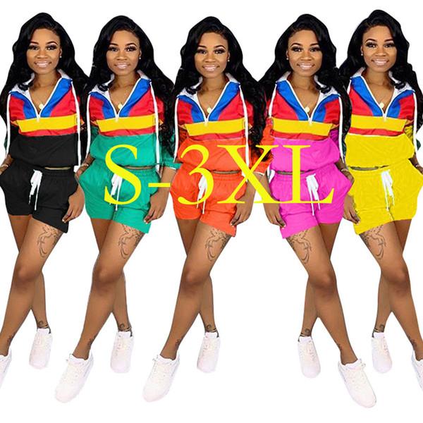 Frau Casual Sportbekleidung Langarm Hoodie + Kurze Hosen Zweiteilige Set Frauen Jogging Sport Anzug für Damen Trainingsanzug