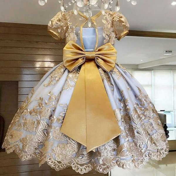 Flower Girls Dress For Wedding Kids Ball Gown Princess Birthday Party Tutu Bow Teenage Girl Kids Clothes 4 8 10 Years Children Formal Frocks