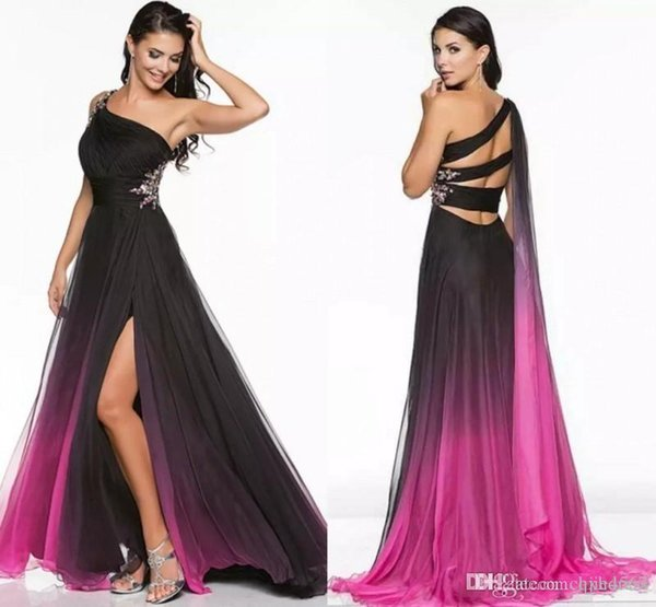 2019 New Gradient Ombre Prom Dresses Special Occasion Chiffon Beautiful Long One shoulder Beading Sexy Split Runway Formal Evening Gowns