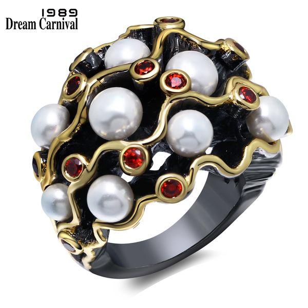 Dreamcarnival 1989 Anelli di fidanzamento Gothic Vintage Black Gold Colore Rosso Cz Bianco Perle imitazione Donna Anel Masculino Wa11539 Y19052201