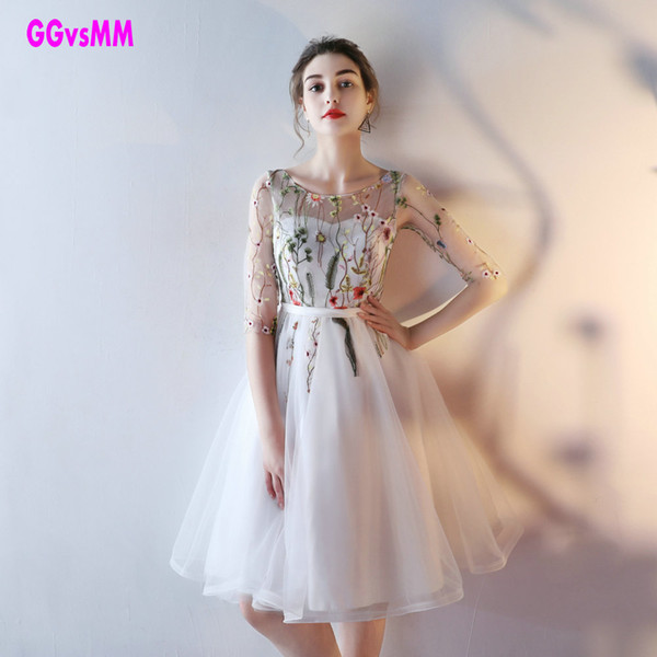 Fast Shipping Cheap Women Ivory Short Dresses Sexy Black Prom Dress Scoop Tulle Embroidery Lace Up Evening Party Gown Q190530