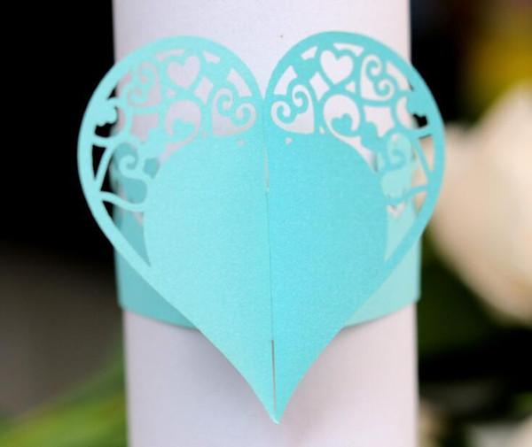 Anneaux de serviette de fleurs coeur creux pour mariage / fête / décoration de table Party Favors Party Supplies Favors Wedding