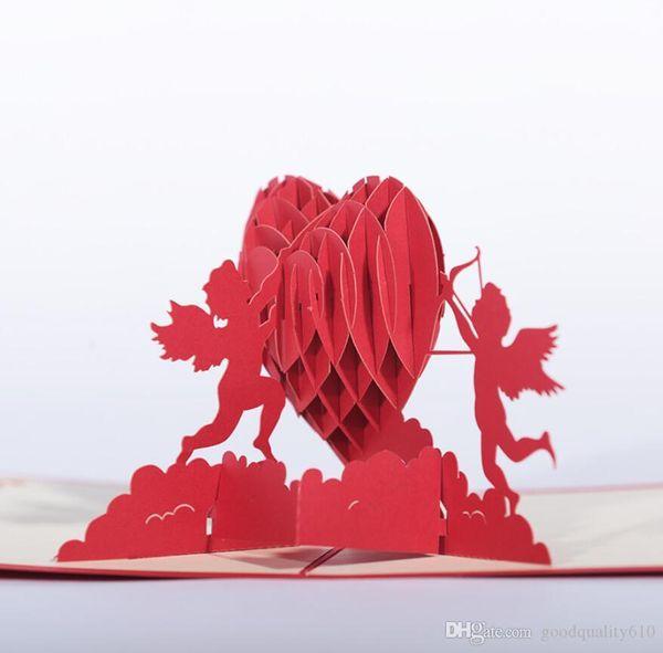 Compre 10 Piezas Cupid Angel Heart 3d Pop Up Tarjetas De Felicitación Tarjeta De Invitación Para Boda Navidad Cumpleaños Baby Shower Party Gift A